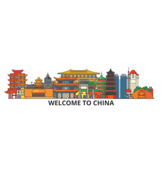 china outline skyline chinese flat thin line vector image