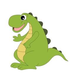 cute cartoon dinosaur isolated on white vector image