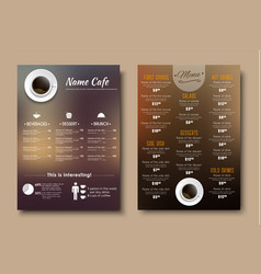 design menus for a restaurant cafe or coffeehouse vector image