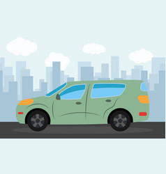 green car in the background vector image