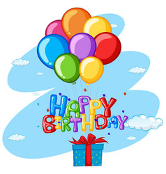Happy birthday theme with present and balloons vector