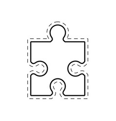 puzzle solution image outline vector image