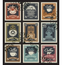 stamps for coffee houses vector image vector image