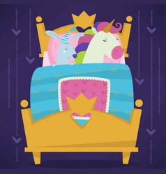 Animals sleeping in bed fairytale pets asleep set vector