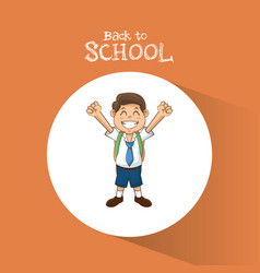 back to school student boy happy uniform tie vector image