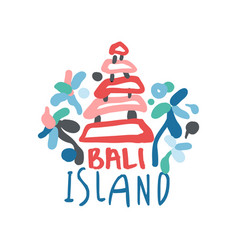 Bali island logo template original design exotic vector