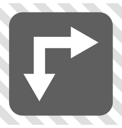 Bifurcation arrow right down rounded square button vector