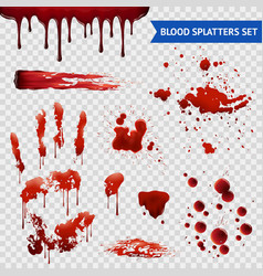 Blood spatters realistic samples transparent set vector
