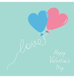 Blue and pink balloons in shape of heart vector