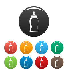 bottle nipple icons set color vector image