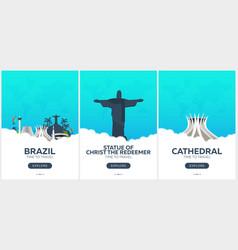 brazil rio de janeiro time to travel set of vector image