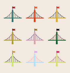 Bridges collection metal with flag set vector