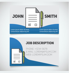 Business card print template with signed contract vector