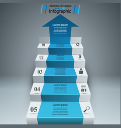 Business infographics up the ladder to success vector