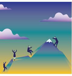Business people climbing mountain vector