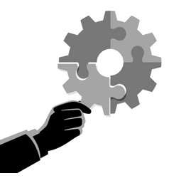 businessman hand holding final piece puzzle vector image