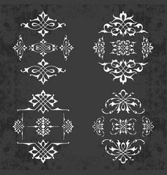 calligraphic design elements on chalkboard vector image