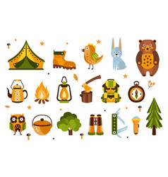 camping associated symbols set of vector image