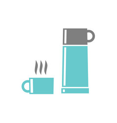 camping thermos icon on white background for vector image