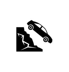 car fell into ravine from mountain flat vector image
