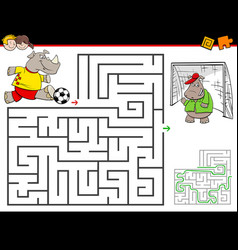 Cartoon maze activity with rhino playing soccer vector