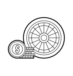 Casino roulette with chips vector