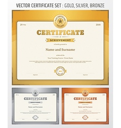 Certificate achievement set gold silver bronze vector