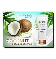 Coconut organic cosmetics promo poster vector