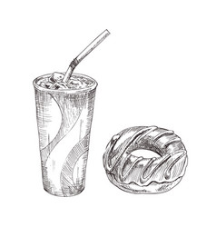 cola paper cup dessert monochrome sketch vector image