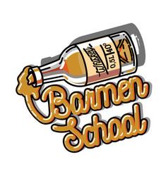 color vintage barmen school emblem vector image