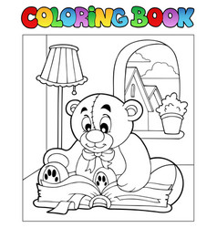 Coloring book with teddy bear 2 vector