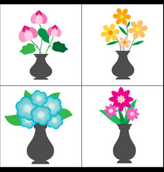 cute flowers in pots on white background vector image