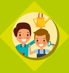 Dad and son gardenrs with shovel and watering can vector