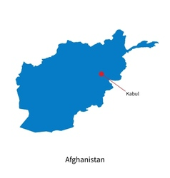 Detailed map of Afghanistan and capital city Kabul vector image