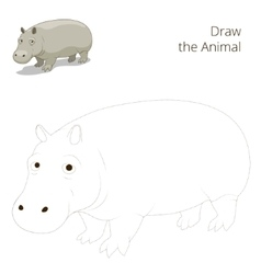Draw the animal educational game for hippopotamus vector
