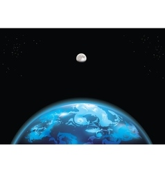 Earth and moon in space vector