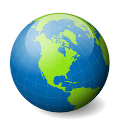 Earth globe with green world map and blue seas and vector