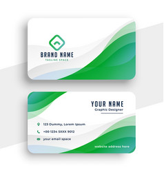 elegant white and green business card design vector image