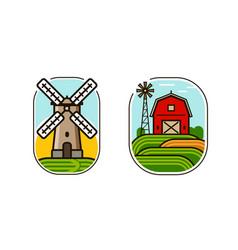 Farm logo or symbol agriculture natural food vector