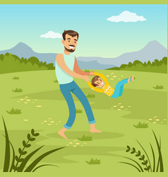 Father rotating his son on nature dad and so vector