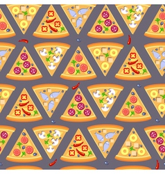 Flat style seamless pattern pizza background vector image