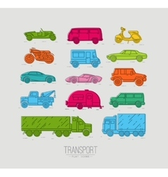 Flat transport icons color vector