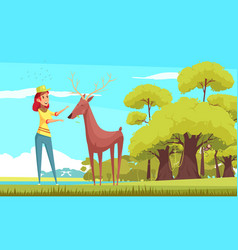 forest animal feeding cartoon vector image