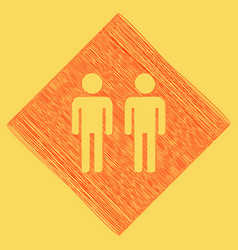 Gay family sign red scribble icon vector