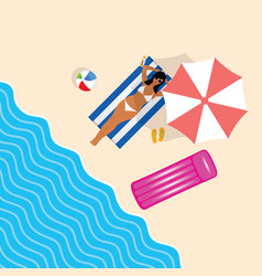 Girl in bikini on beach paradise leisure vector