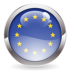 Gloss Button with EU Flag vector image