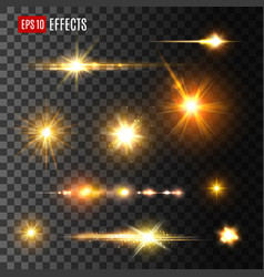 Gold light flash or star shine light icons vector