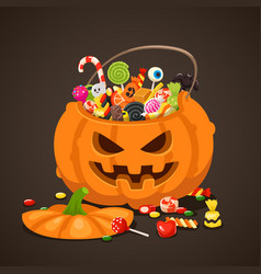 Halloween candies in pumpkin bag sweet lollipop vector