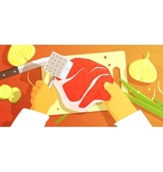 Hands Preparing Meat Colorful From vector