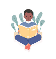 Happy african child reading book afro-american vector